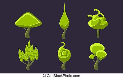 Cute Fantasy Green Trees Set, Fantastic Landscape Elements, Game Ui Scenics Vector Illustration