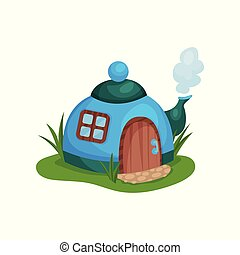 Cute fantasy house in form of blue teapot with little window and wooden door. Cartoon flat vector design for fairy tale book or mobile game