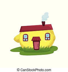 Cute fantasy house in form of yellow lemon. Fairy-tale home...