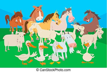 cute farm animal cartoon characters group
