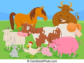 cute farm animal characters group