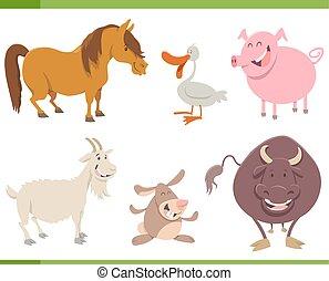 cute farm animal characters set - Cartoon Illustration of...