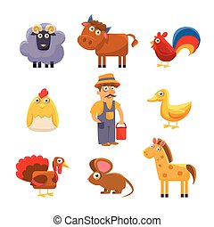 Farm Animal Collection. Colourful Vector Illustration Set