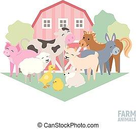 Cute farm animal kid set cow, pig, lamb, donkey, bunny,...