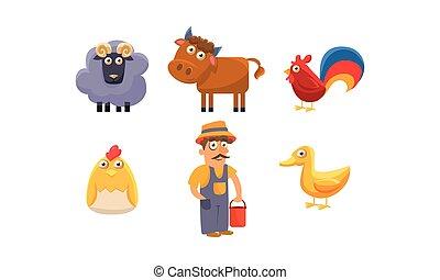 Cute farm animals and male farmer, ram, sheep, horse,...