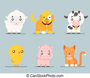 Cute farm animals cartoon flat design icons set character vector illustration
