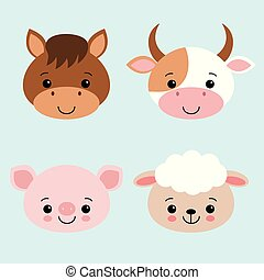 Cute Farm Animals Collection Set with Cow Horse Sheep Pig Cartoon Vector Illustration