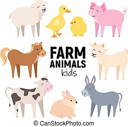 Cute farm animals cow, pig, lamb, donkey, bunny, chick,...