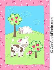 Cute farm animals on a hill embroidery
