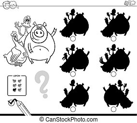 cute farm animals shadow game coloring book - Black and...