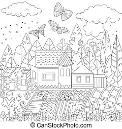 cute farm for your coloring book