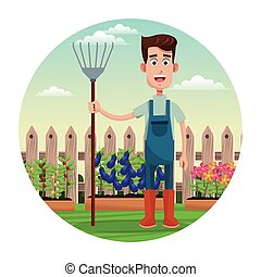 cute farmer coveralls and pitchfork garden fence