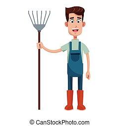 cute farmer coveralls and pitchfork