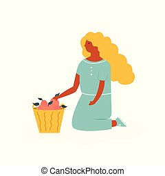 Cute farmer girl sitting with basket of fruits