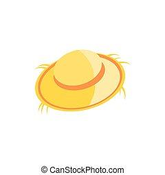 cute farmer hat , straw hat on white background