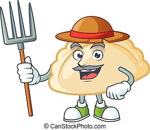 Cute Farmer pierogi cartoon mascot with hat and tools