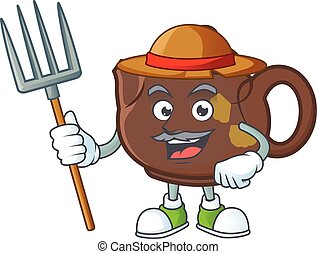 Cute Farmer teapot cartoon mascot with hat and tools