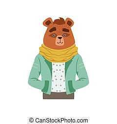 Cute fashion bear guy character, hipster animal flat vector illustration