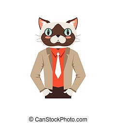 Cute fashion cat guy character, hipster animal flat vector illustration
