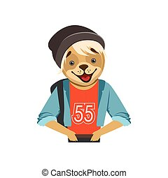 Cute fashion dog guy character in black hat, hipster animal flat vector illustration