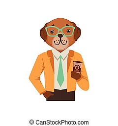 Cute fashion dog man character holding coffee cup, hipster animal flat vector illustration