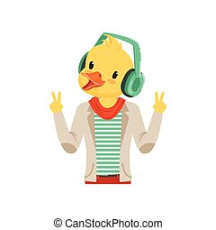 Cute fashion duck chick guy character listening music with headphones, hipster bird flat vector illustration