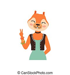 Cute fashion fox girl character showing victory sign, hipster animal flat vector illustration