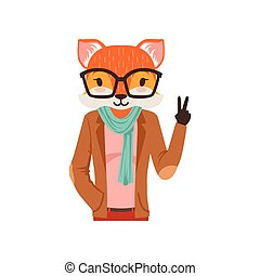 Cute fashion fox guy character showing victory sign, hipster animal flat vector illustration