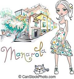 Cute fashion girl in Manarola, Italia.