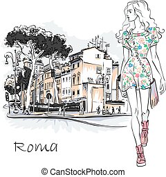 Cute fashion girl in Rome, Italy