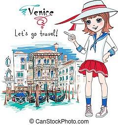 Vector cute beautiful baby girl in sailor suit, Venice, Italia.
