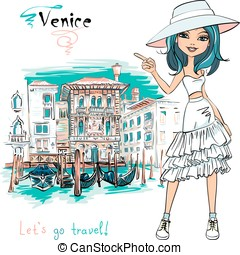 Cute fashion girl in Venice, Italia. - Vector cute beautiful...