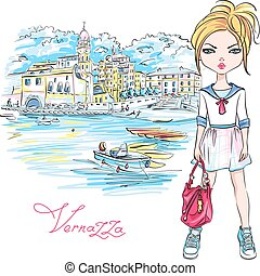 Cute fashion girl in Vernazza, Italia. - Cute beautiful...
