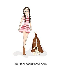Cute fashion girl with pretty dog