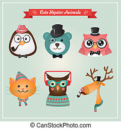 Cute fashion Hipster Animals & pets vector