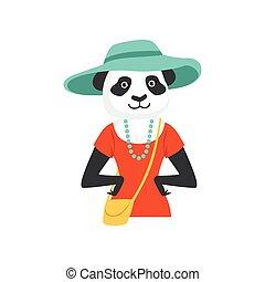 Cute fashion panda bear girl character, hipster animal flat vector illustration