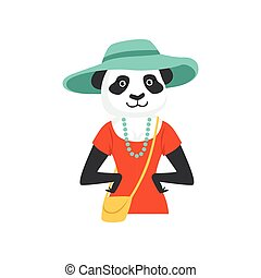 Cute fashion panda bear girl character, hipster animal flat vector illustration