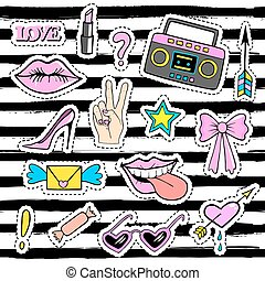 Cute fashion patch badges with lips, hand,tape recorder,...