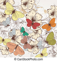 Cute fashion pattern with hand drawn butterflies and flowers