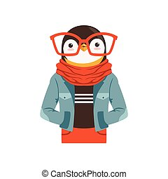 Cute fashion penguin guy character, hipster animal flat vector illustration