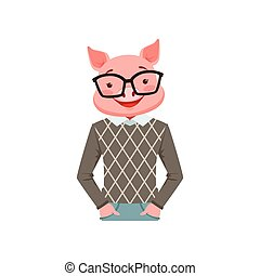 Cute fashion pig guy character, hipster animal flat vector illustration