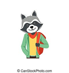 Cute fashion racoon guy character with backpack, hipster animal flat vector illustration