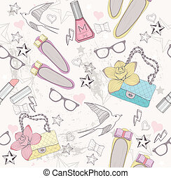 Cute fashion seamless pattern for girls. Pattern with shoes,...