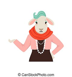 Cute fashion sheep girl character, hipster animal flat vector illustration