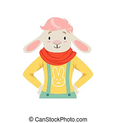 Cute fashion sheep guy character, hipster animal flat vector illustration