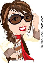 Character illustration of a sharply dressed female with sunglasses and red lipstick.