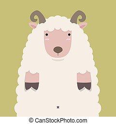 cute fat big brown horn sheep