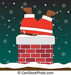 cute fat big Santa Claus stuck in chimney