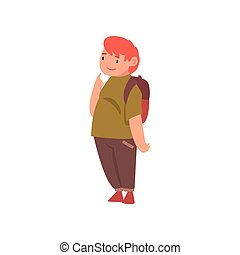 Cute Fat Boy with Backpack, Overweight Child Character...