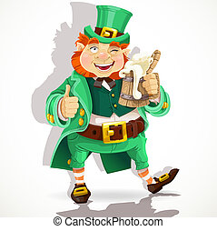 Cute fat Leprechaun with a pot ale - Cute fat Leprechaun...